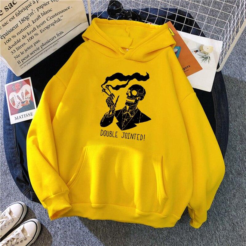 Punk style women's hoodie skull long sleeve casual top goth skeleton dark black 2021 loose ulzzang fashion women's sweatshirt 20