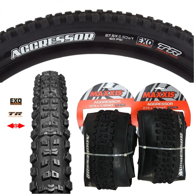 27.5 x 2.3 Maxxis Aggressor EXO Double Down 120tpi Enduro MTB Tire Dual tubeless