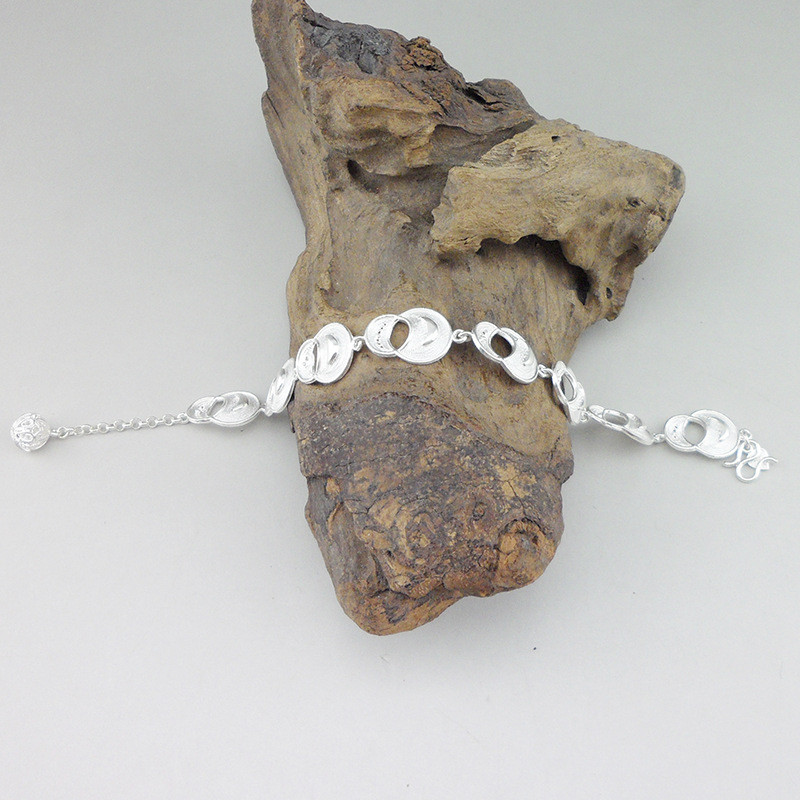 999 Sterling Silver Bracelet Handmade Jewelry Charms Ethnic Hand Chain Link Thick Silver Bangle Women Luxury Gourd Bangles in Chain Link Bracelets from Jewelry Accessories