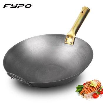 Fypo Chinesischen Traditionellen Handgemachten Eisen Wok Nicht stick Pan Nicht beschichtung Gas und Induktion Herd Kochgeschirr Küche Hohe qualität topf-in Woks aus Heim und Garten bei