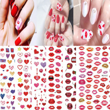 3D Love Heart Nail Art Sticker Manicure Designs Sexy Lips Self Adhesive Valentine's Day Nail Sticker Decoration Decals Beautiful