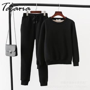Image 5 - Tataria 2 חתיכה אימונית לנשים חורף ארוך שרוול לעבות חולצות נשים של חם חליפות נשי קטיפה מזדמן ספורט חליפה