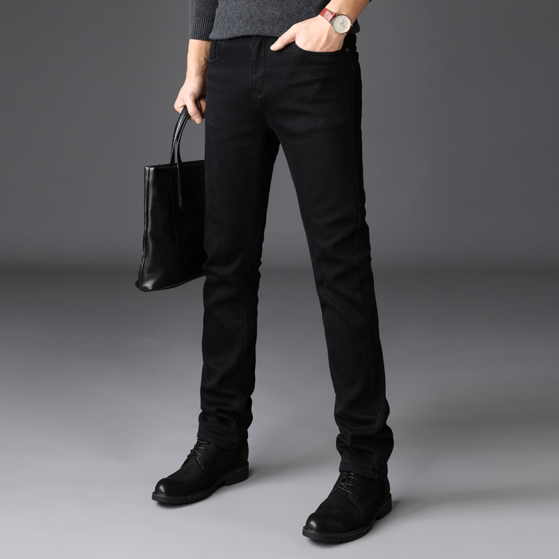 Men's black jeans 2020 autumn and winter brand clothing high-quality denim cotton comfortable business casual fit slim jeans