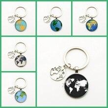 New Cute Earth Pendant Keychain Handmade World Map Geography Key Ring Glass Dome Keychain Women Bag Charm Gift Travel Souvenir цена и фото