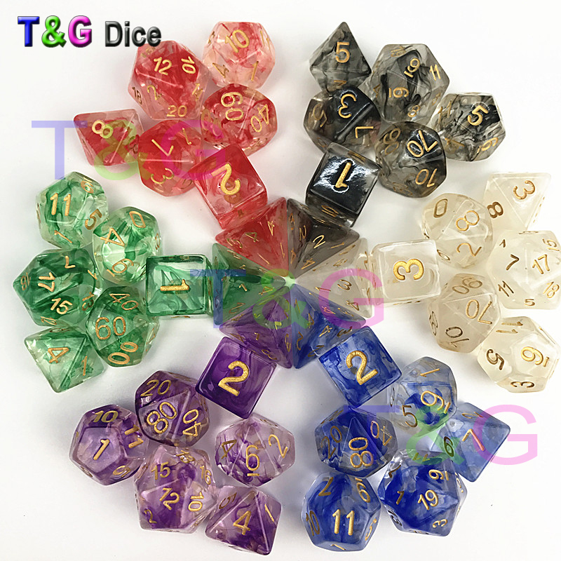 Brand New Dice Polyhedral Nebula Blue W White Set Of 7 For D&d Game Plus POUCH BAG D4 D6 D8 D10 D12 D20 Dice Set Gift Toy