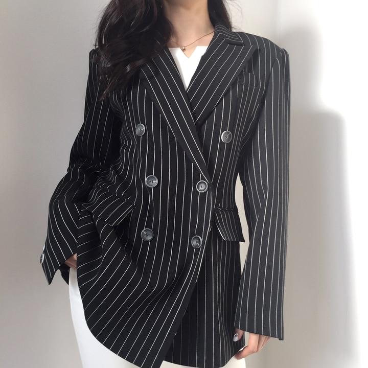 2020 Autumn Fashion British Style Women Striped Suit Fragrance Female Coat Long Sleeve Double Breasted Notched Blazer Femme