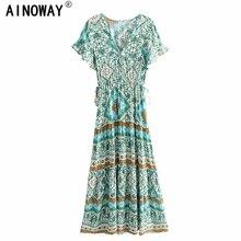 فساتين نسائية كلاسيكية أنيقة بنقشة الورود باللون الأخضر للشاطئ بتصميم بوهيمي طويل بفتحة رقبة على شكل V فستان بوهو مطوي من vestidos