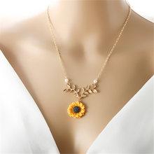 Delikatne kobiety złoty naszyjnik niestandardowy słonecznik naszyjnik perła nowy kreatywny słonecznik sweter naszyjniki darmowa wysyłka