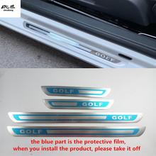 Darmowa wysyłka 4 sztuk partia ultra-cienkie drzwi ze stali nierdzewnej pedał płyta chroniąca przed zarysowaniem dla 2008-2017 VW Volkswagen Golf 6 MK6 Golf 7 MK7 tanie tanio NoEnName_Null Chrom stylizacja STAINLESS STEEL 0 35kg