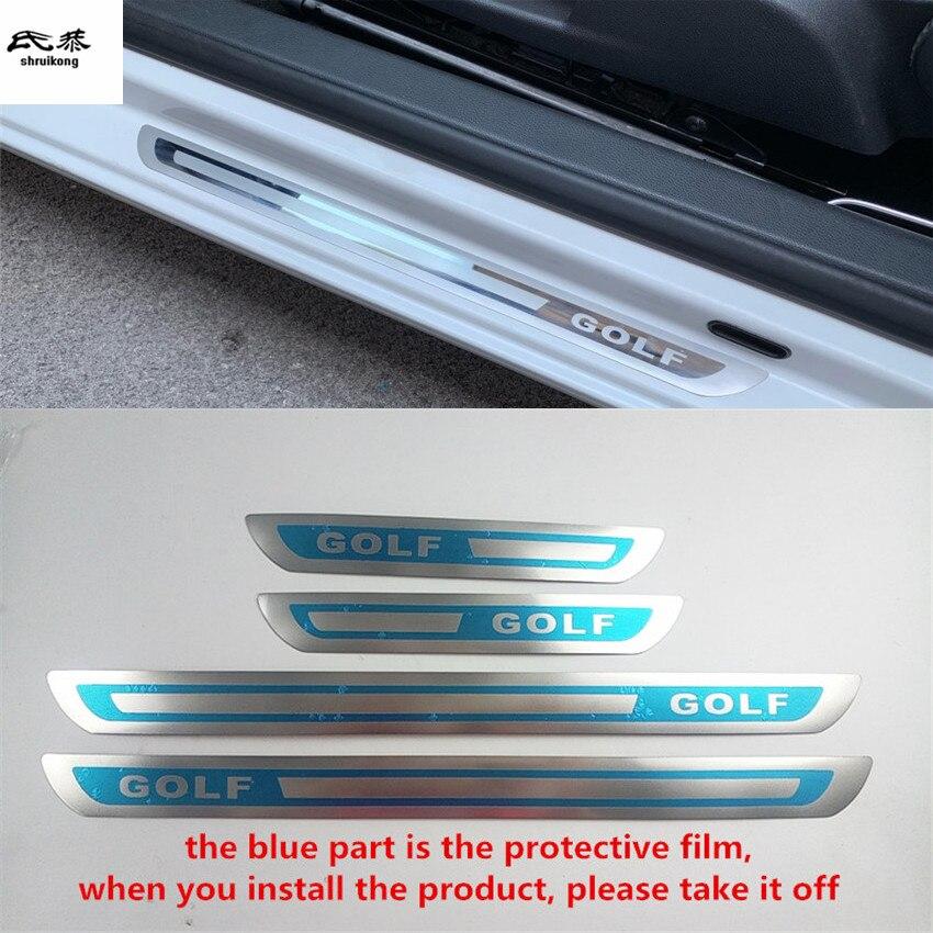 Darmowa wysyłka 4 sztuk/partia ultra-cienkie drzwi ze stali nierdzewnej pedał płyta chroniąca przed zarysowaniem dla 2008-2017 VW Volkswagen Golf 6 MK6 Golf 7 MK7