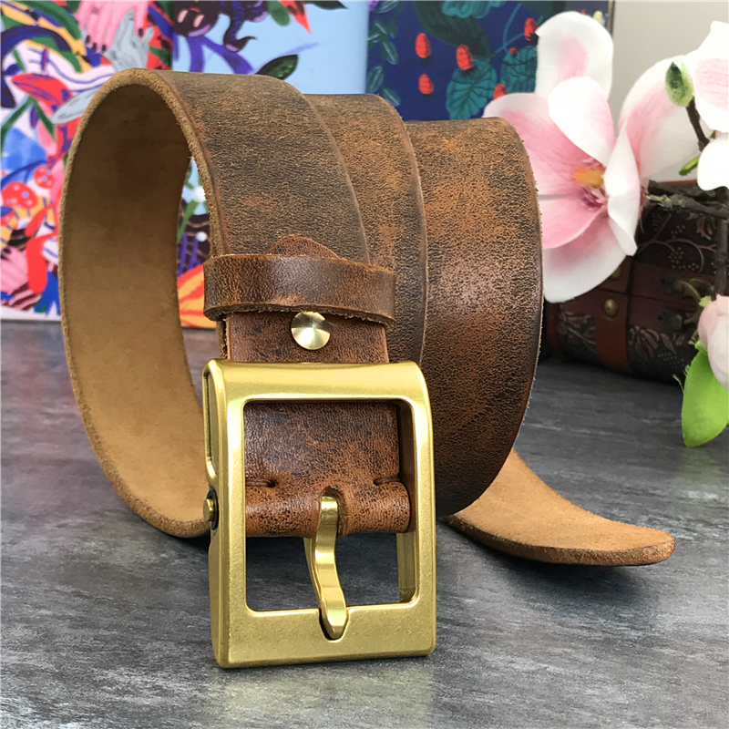 Heavy Solid Brass Belt Buckle Super Thick Men Genuine Leather Belt Men Casual High Quality Belt Cowboy Yellow Belt Jeans MBT0022