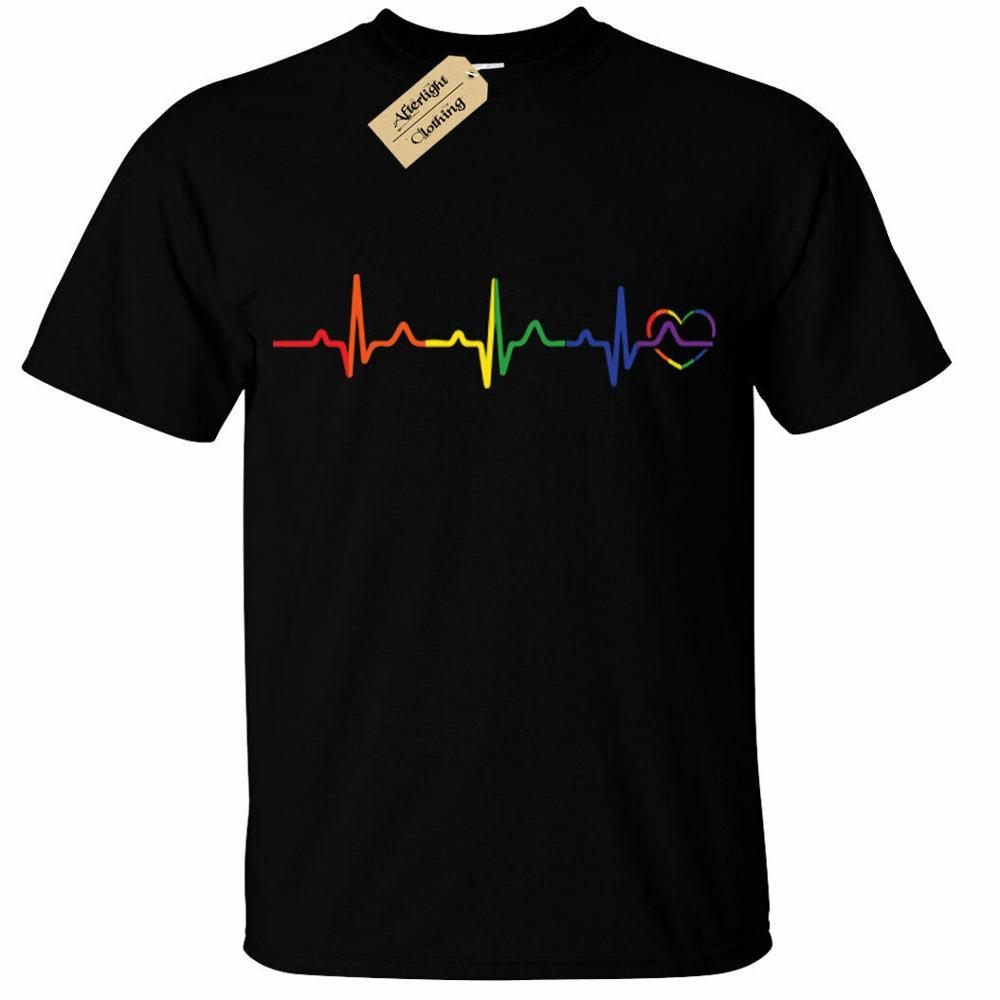Rainbow Heartbeat T-Shirt Mens Lgbtq+ Gay Pride Heart Lesbian Trans Bi Queer Mens T-Shirts Fashion 2019 Casual Slim T Shirts