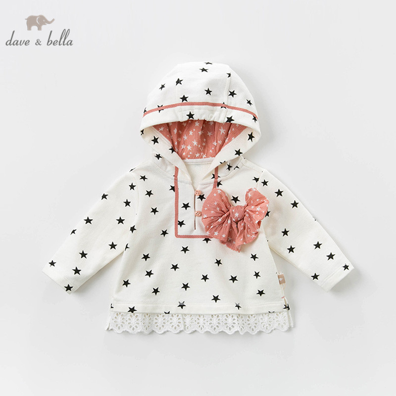 DB12982 dave bella spring baby girls stars bow hooded T-shirt children long sleeve tops girls cute pullover kids fashion tees