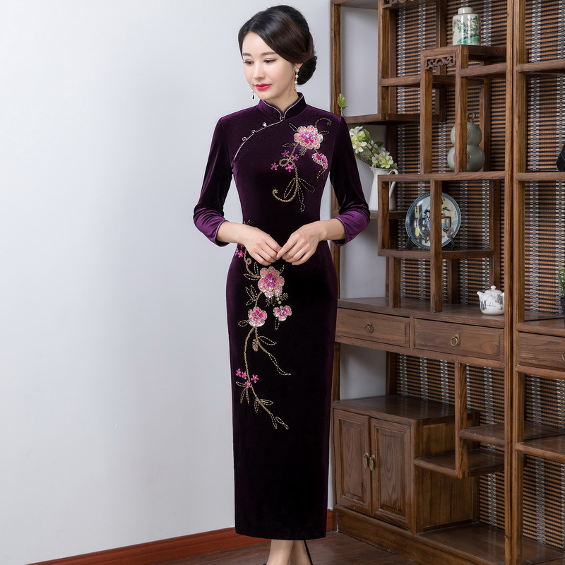 2019 Sale Jin Pavilion New Winter Wedding Toast High-grade Manual Nail Bead Velvet Cheongsam Seven Long Sleeve Improved Fashion