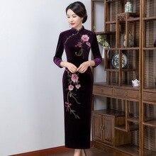 2019 venda jin pavilion novo inverno casamento brinde de alta qualidade manual prego grânulo veludo cheongsam sete manga longa melhorada moda