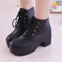 Boots Female Autumn Boots Chunky Boots Lace Up Casual Leather Ankle Boots Square Heel Shoes Woman Black White Booties Bota Women women autumn and winter new arrivals boots female martin bootsshoes female kitten heel chunky heel shoes and ankle boots classi