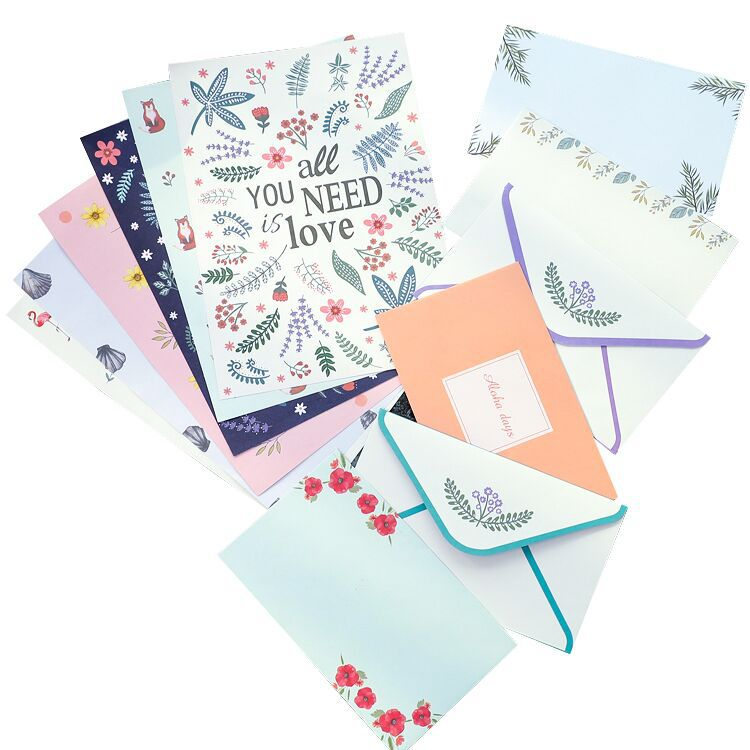 4PCS Writing Letter Paper 2PCS Envelope Set Cute Flower Flamingo Fox Animals Designs Office School Stationery Lovers Gift Letter