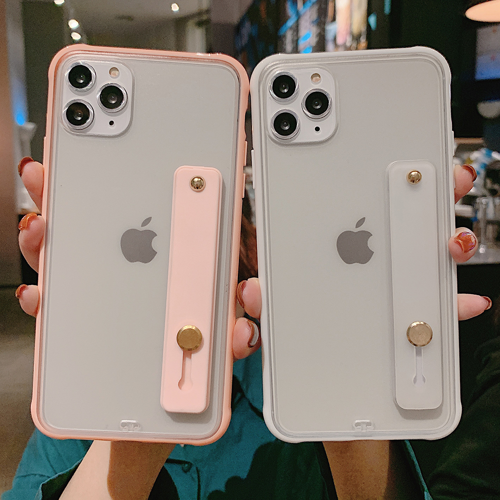 Shockproof <font><b>Bumper</b></font> Transparent Phone <font><b>Case</b></font> For <font><b>iPhone</b></font> 11 Pro X XR XS Max 8 7 <font><b>6</b></font> 6S Plus Clear Soft TPU Wrist strap stand Back Cover image