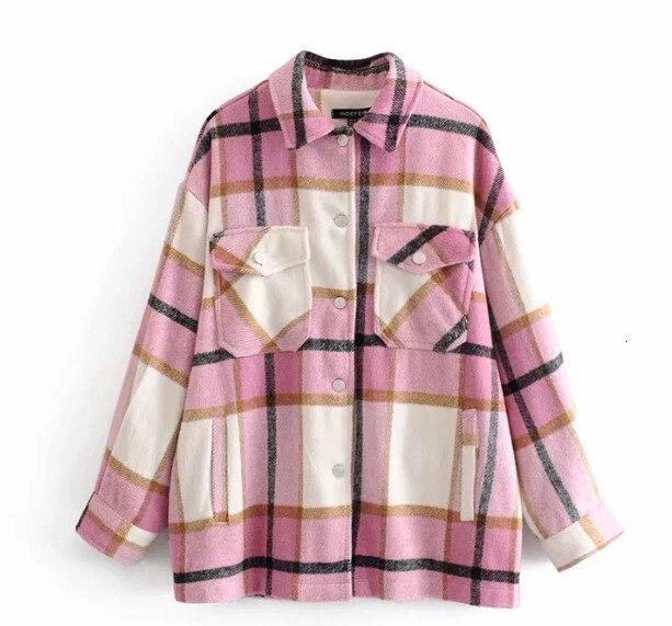 Winter Plaid Shirt Jacekt Loose Oversize Woolen Coat Women Vintage Button Jacket Windbreaker