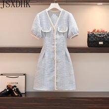 Mais tamanho feminino inglaterra túnica do vintage vestido 2021 verão moda escritório senhoras elegante manga curta pérola botão tweed vestidos