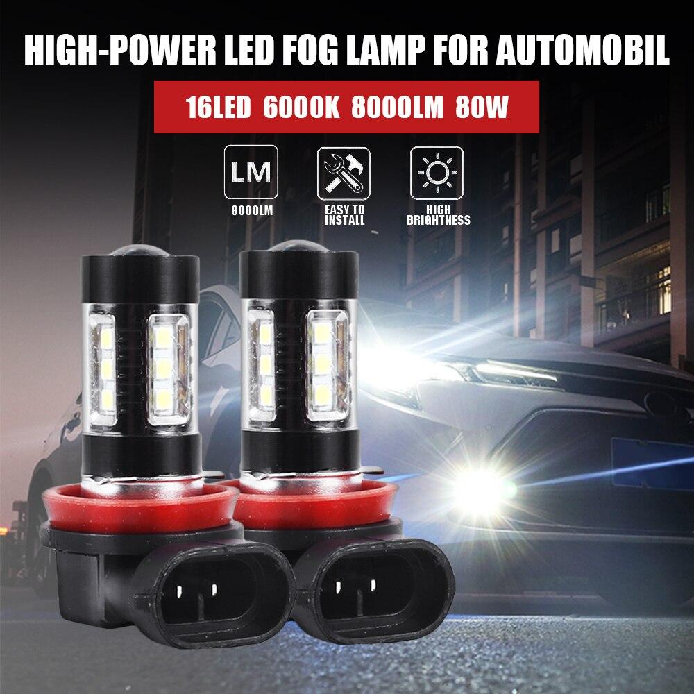 2 шт. светодиодный H10 H11 H8 H9 противотуманный светильник, автомобильная лампа H10 HB3 9005 80 Вт, светодиодный светильник 6000 К, белый автомобильный дневной ходовой светильник, DRL лампа, супермощный