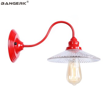 Vintage Loft Decor โคมไฟติดผนังไฟ LED Edison อเมริกันโมเดิร์นโคมไฟข้างเตียงโคมไฟสีแดงแก้วเหล็ก E27 โคมไฟ