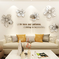 Sliver Flower Coloring Acrylic Wall Sticker Simple Home 3d Wall Stickers For Living Room Multi Colors Room Decoration Wallpaper