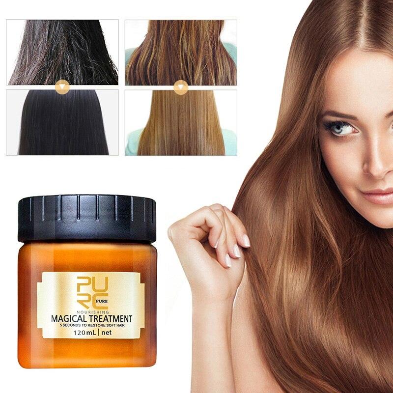 PURC Волшебная кератиновая маска для лечения волос, 120 мл, эффективный ремонт поврежденных сухих волос, 5 секунд, питает и восстанавливает мягк...