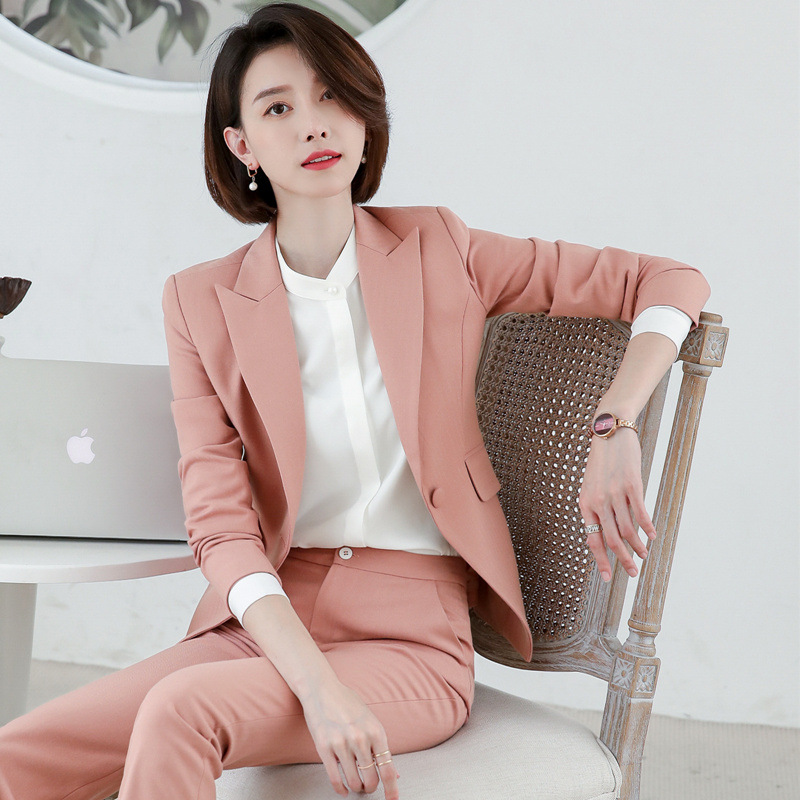 Pink Black Navy Blue Female Elegant Women's Pants Suits Trouser Suit Dress Jacket Costumes Office Wear Clothing Set Top And Pant