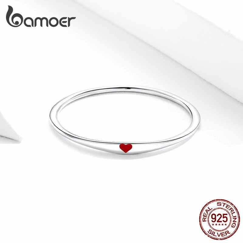 Bamoer Plata de Ley 925 diminuto esmalte rojo corazón dedo anillos para mujeres círculo Delgado moda joyería Bijoux 2019 nuevo SCR620