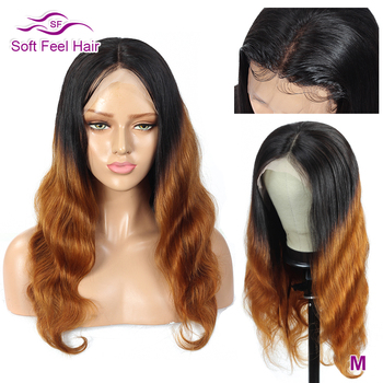 Soft Feel Hair T1B/30 Ombre Human Hair Wig Transparent Lace Front Wigs For Women Remy 13x4 Brown Brazilian Body Wave Wig 150%