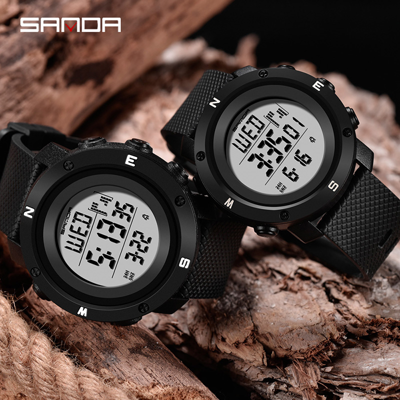 Watch Couple SANDA Women Men'S Sport Digital Watch Outdoor Waterproof Couple Watches For Lovers Alarm Chronograph Dual Time