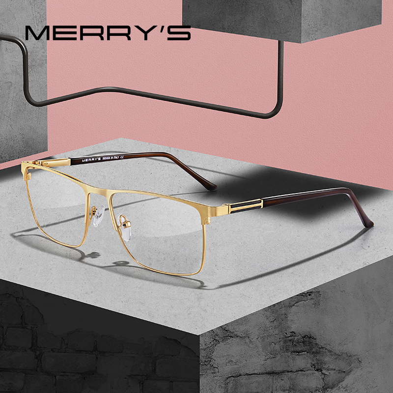 MERRYS DESIGN Men Luxury Titanium Alloy Optics Glasses Male Square Ultralight Eye Myopia Hyperopia Prescription Eyeglasses S2030