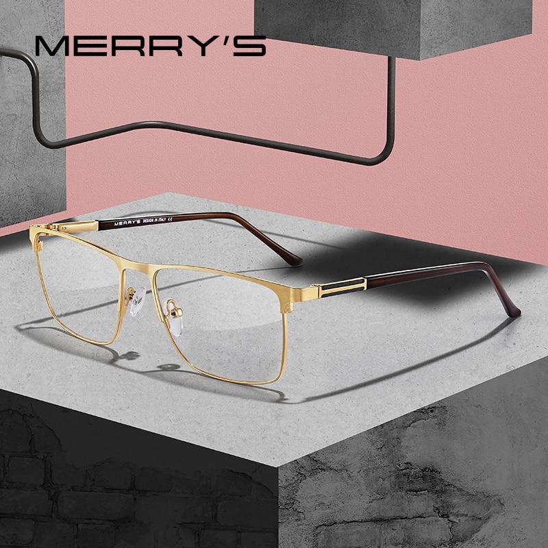 MERRYS DESIGN Men Luxury Titanium Alloy Optics Glasses Male Square Ultralight Eye Myopia Hyperopia Prescription Eyeglasses S2030