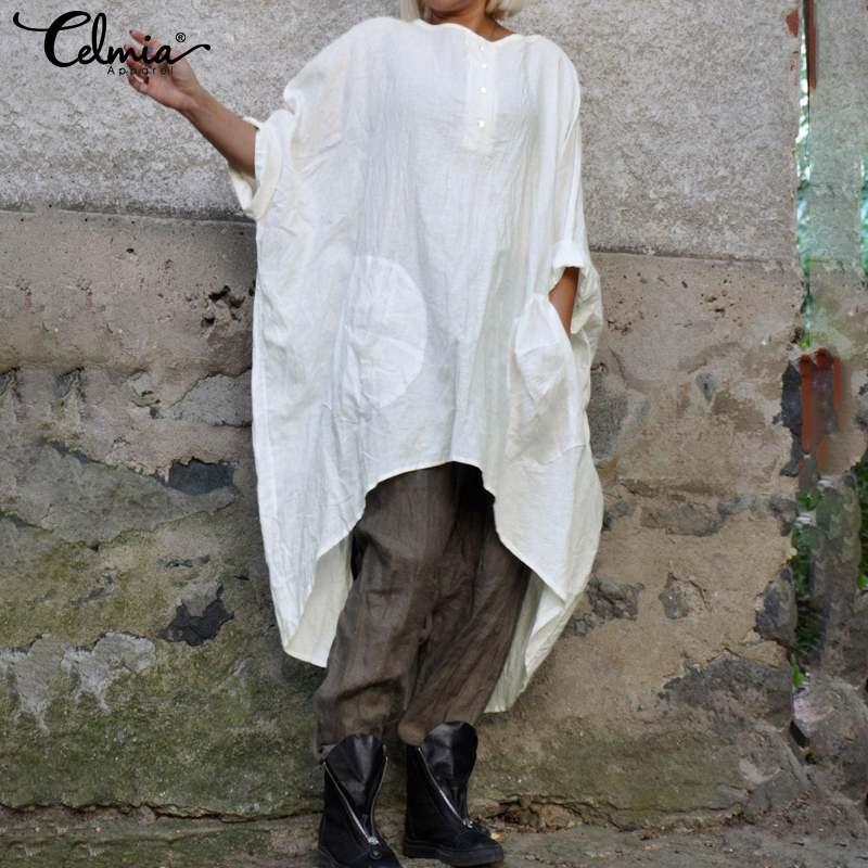 Fashion Asymmetrical Tops Celmia Women's  Sleeve Vintage Cotton Blouses Long Shirts 2020 Autumn Casual Baggy Blusas S-5XL