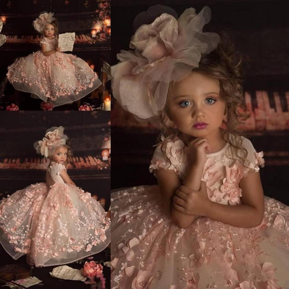 Petal Power Pink Girls Pagenat Dresses Princess Crew Neck 3D Lace Appliques Cap Sleeve Long Formal Flower Girl Dresses