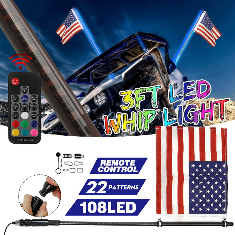 LED 3/4FT Whip Light RGB Muti Color Waterproof Bendable Wireless Remote Control Flagpole Lamp Light DC12V+America Flag With Base