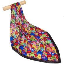 Чистый Шелковый шарф женский шарф кошка Хиджаб Женский шелковый шарф для волос квадратный шелковый платок на голову бандана для шеи Горячая упаковка для женщин