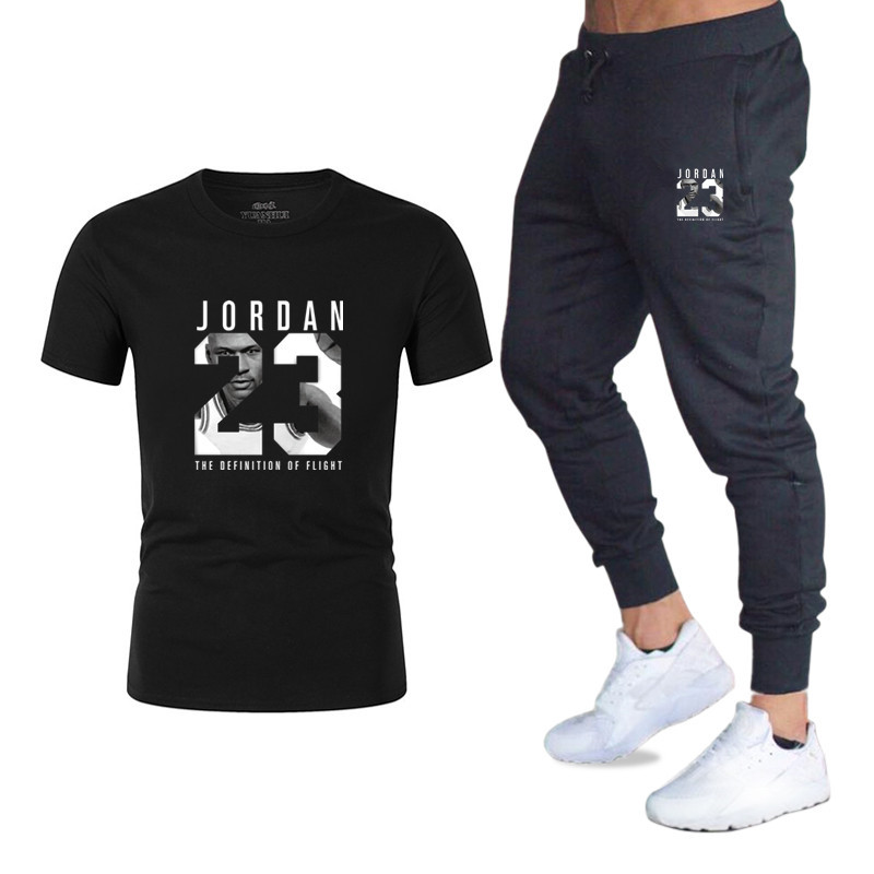 New Style Summer Day Ouma Men Fashion 23 Printed Set T-shirt Leisure Sports Suit MEN'S T-shirt Pants Fitness Pants