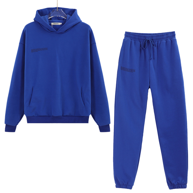 100% Cotton Solid Hoodies Sets Track Pants Women Hooded Sweatshirts Female Pullover Two Pieces Suits 3