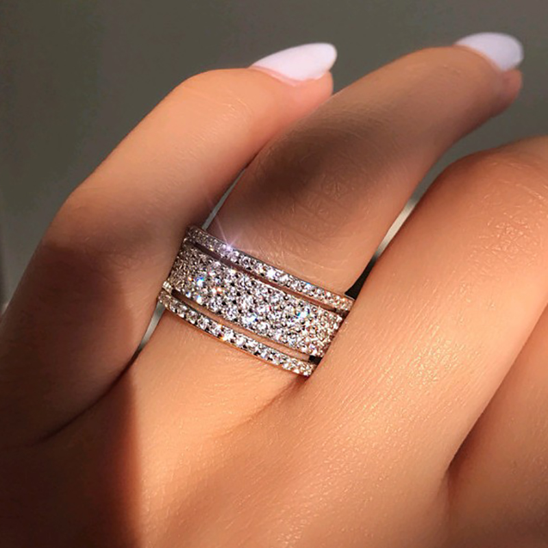 Elegant Silver Color Rhinestone Crystal Ring Wide Love Rings For Women Wedding Engagement Full Zircon Finger Rings Jewelry Gifts