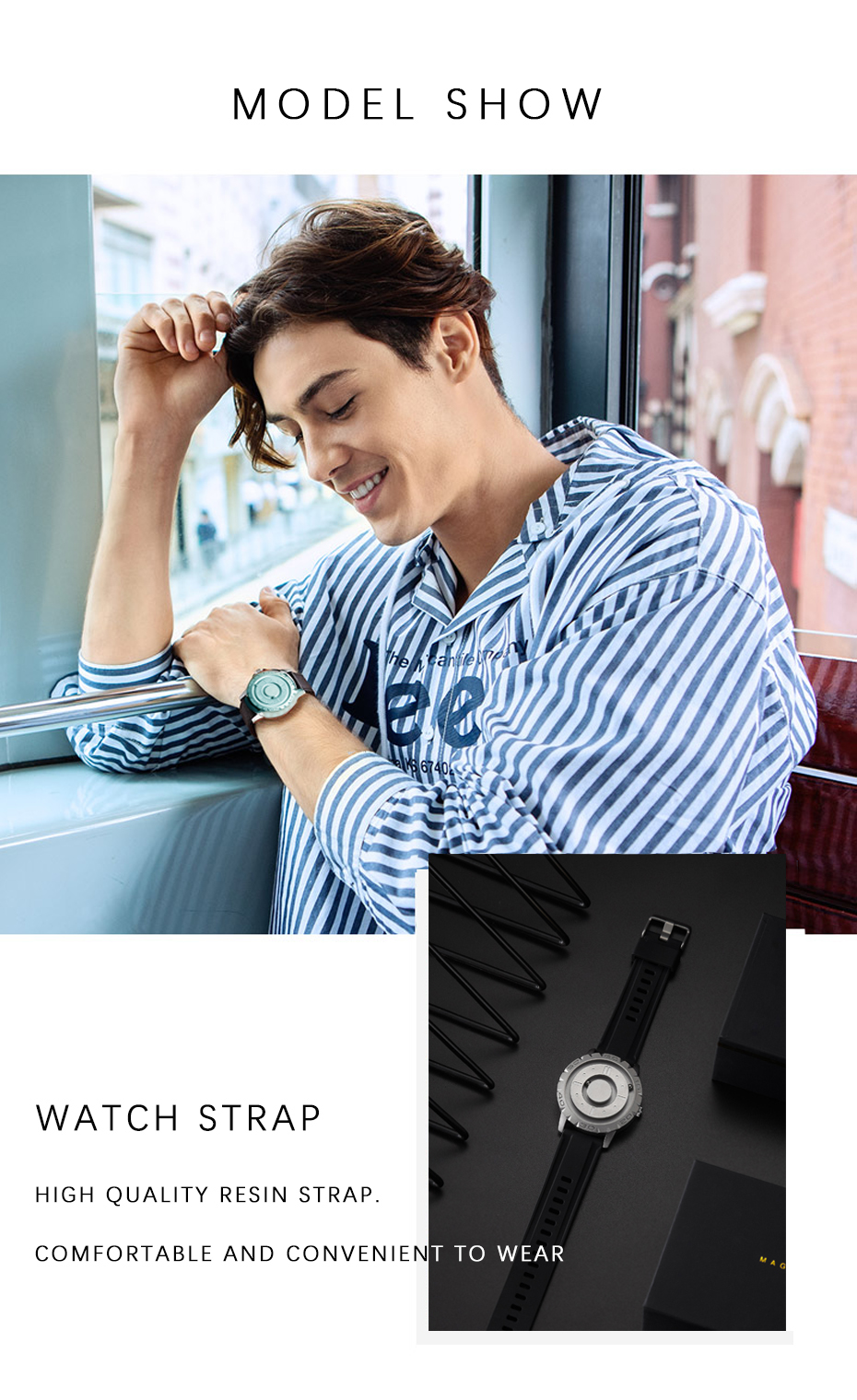 Eutour original brand new magnetic pointer free concept quartz watch blind touch men's watch fashion rubber strap