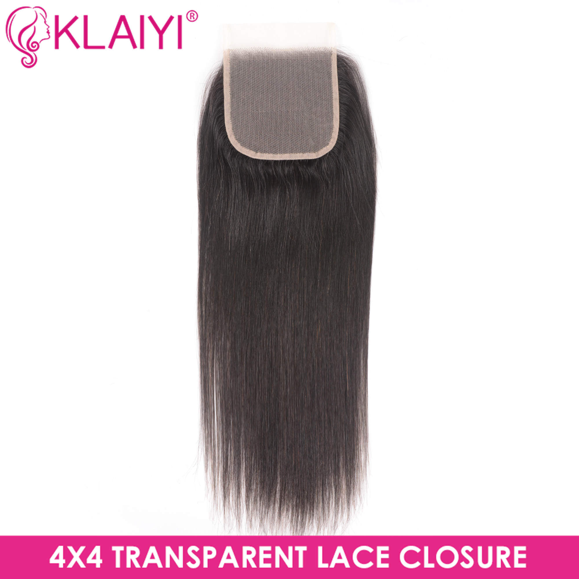Klaiyi Hair Transparent Lace Closure Brazilian Straight Hair Remy Hair Free Part 4*4 Soft Swiss Lace Natural Color 10-20 Inch