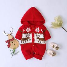 Winter Warm Baby Rompers Knitted Newborn Bebes Jumpsuits Clothes Christmas Reindeer Toddler Boys Girls Overalls One Piece Outfit red christmas reindeer knitted baby jacket for girls fall long sleeved sweaters cardigans coats newborn boys winter warm clothes