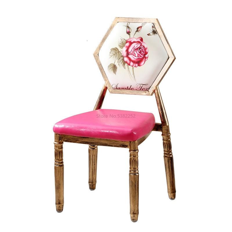 Retro chair modern minimalist creative dining chair iron American makeup chair nail shop stool chair