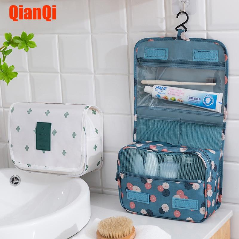 Women Makeup Bags Toiletries Organizer Cosmetic Bag Handbag Foldable Portable Hanging Cosmetic Finishing Package