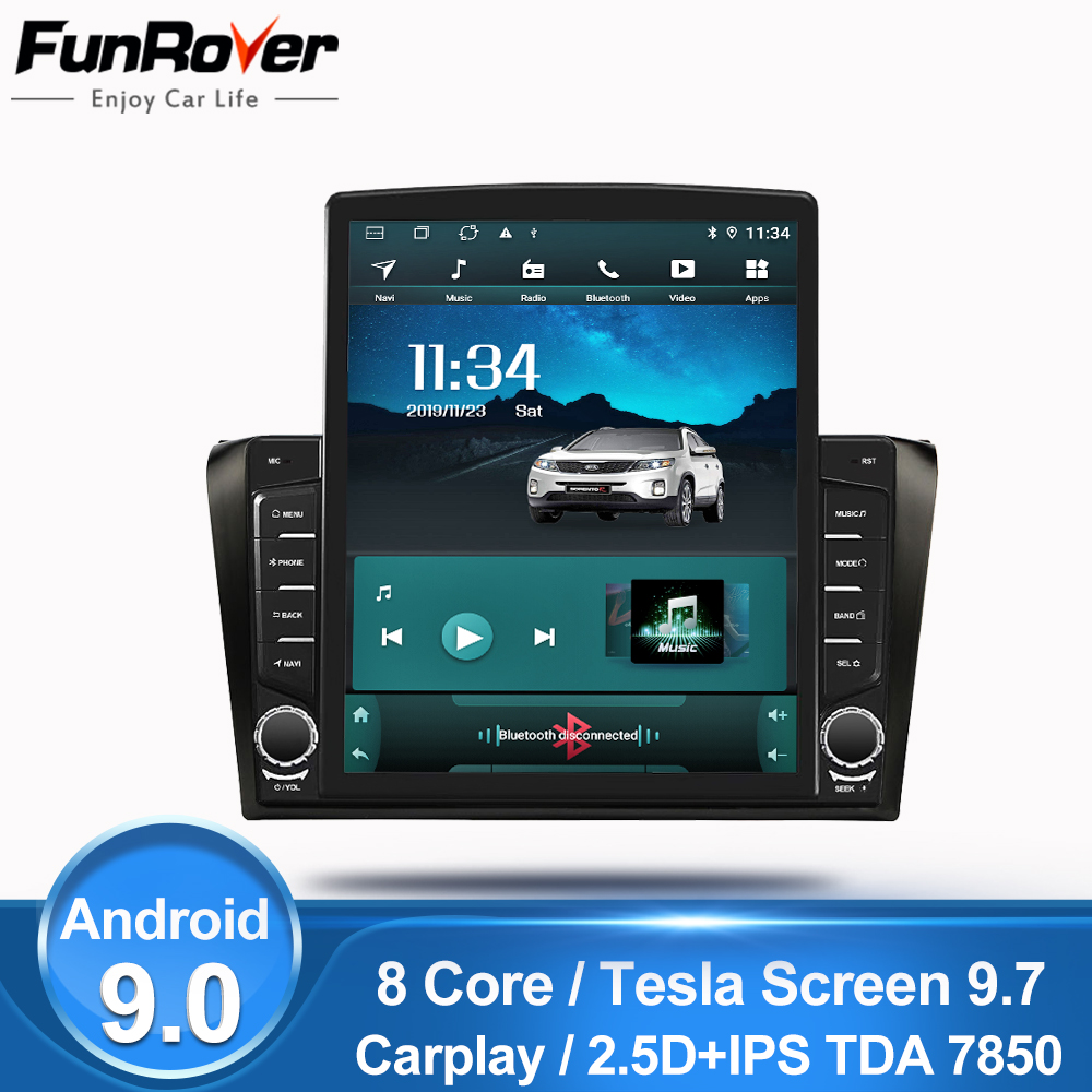 Funrover 9.7 Tesla screen For Mazda 3 2004-2009 Android 9.0 Car Radio Multimedia autoradio Player GPS Navigation 2G+32G no dvd image