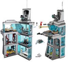 Blocos de construção super herói 511 pçs ataque na torre final quinjet composto batalha homem ferro salão armadura modelo brinquedos crianças presentes