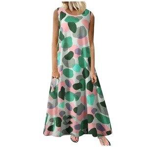 Fashion Womens Casual Loose Sexy Printed Round-neck Sleeveless Long Dress Women's Autumn Dresses Fashion Vestido De Mujer #GM