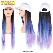 Braided Wigs Cornrow-Wig Adjustable-Hat Black Women Hair-Extension Synthetic Ombre 24inch